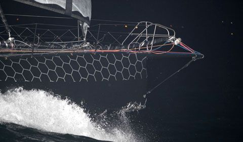 Route du Rhum - Damage to Hugo Boss clearly visible in first pictures
